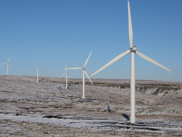 Scout Moor Wind Farm in Winter