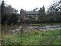 SU9948 : Elegant houses on the River Wey opposite Shalford Park by Basher Eyre