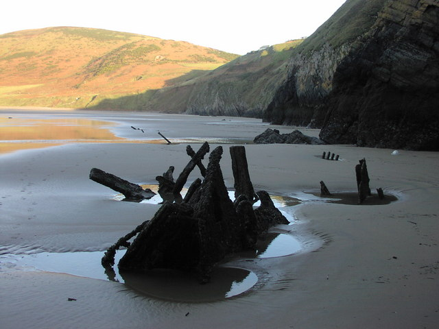 The Vennerne Shipwreck at the foot of Rhossili Cliffs