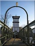 TQ1169 : Sunbury Court Island: Footbridge and Tower by Nigel Cox