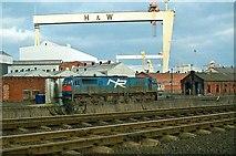 J3574 : Locomotive and cranes, Belfast by Albert Bridge