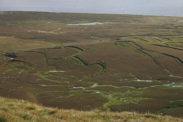 Active peat cuttings at Lioag, Foula