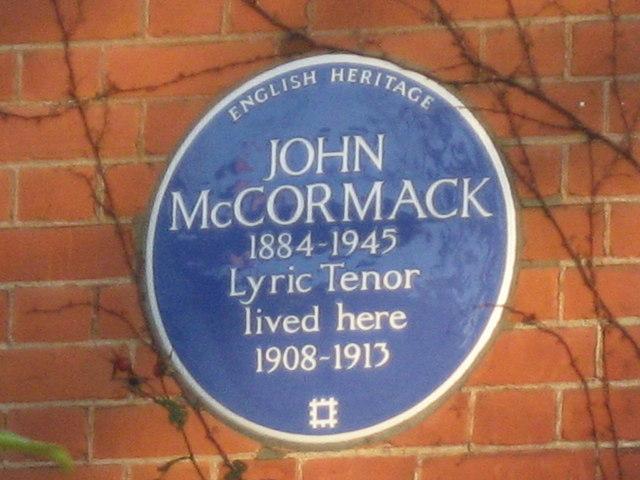 Photo of John McCormack blue plaque