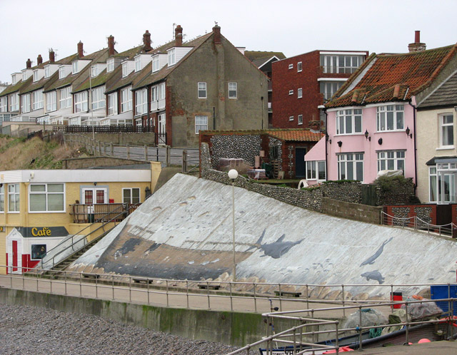 Shipwreck mural on sea wall