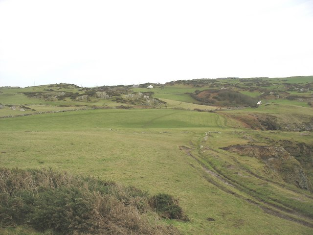 Clifftop fields on the eastern side of Porth Wen cove