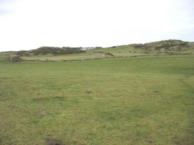 View across small clifftop fields towards Yr Erw