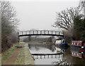 SP2266 : Canal footbridge near Hatton by Andy F