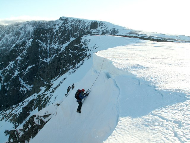 A climber nearing the top of No 5 Gulley