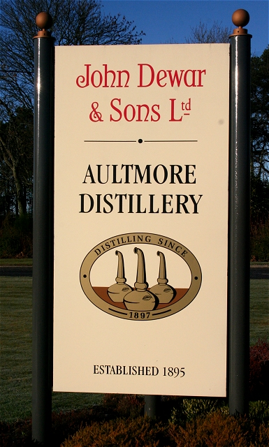 Sign at Aultmore Distillery