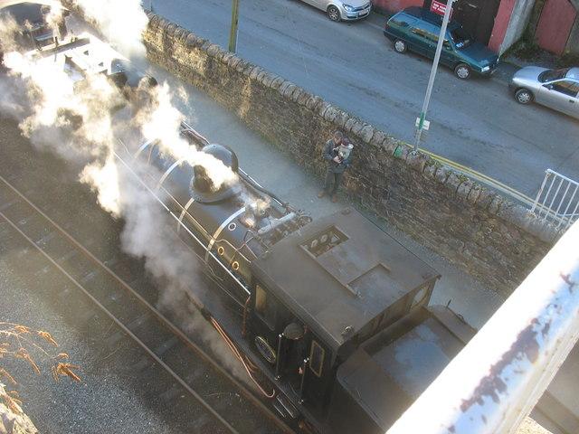 Welsh Highland Railway locomotive at Caernarfon Station