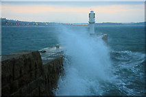 SW4730 : Penzance Harbour arm and lighthouse by Bob Jones