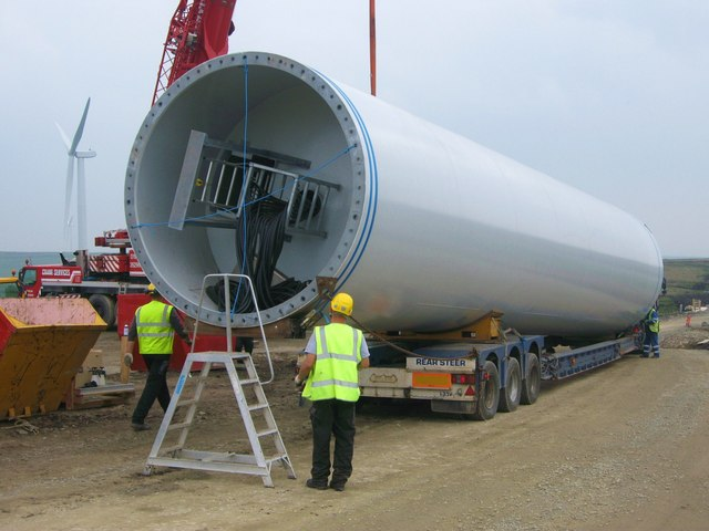 Engineers prepare tower section for lifting