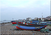 TQ1602 : Boats on the Beach (again), Worthing, West Sussex by Roger  Kidd