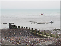TQ1602 : Groynes at low tide, Worthing, West Sussex by Roger  Kidd