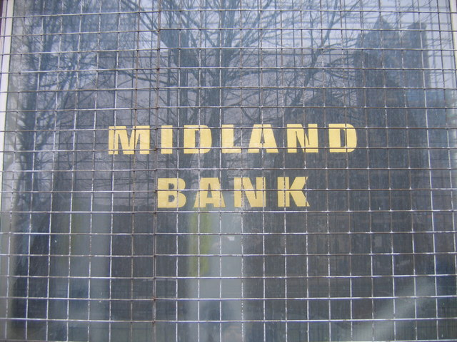 Midland Bank Lozells. Original Sign in Window