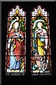 """SO4103 : """"Faith"""" and """"Hope"""" in stained glass, Llandenny church by Ruth Sharville"""