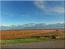 SK7369 : Red barrier gate on Tuxford Road by Steve  Fareham