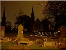 NZ2766 : Heaton cemetery and churches by Stephen Sweeney