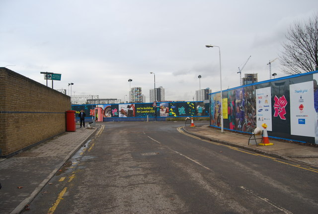 Olympic 2012 boards, junction of Pudding Mill Lane & Barber's Lane