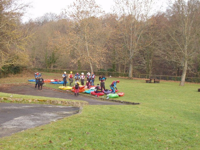 Kayakers prepare to embark on the Tees