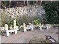 NZ0416 : Stone carved seats, Barnard Castle by David Hawgood