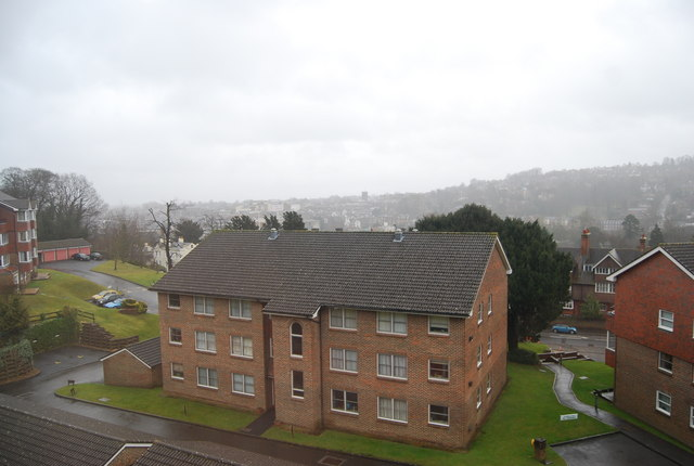 The view across Guildford, in the rain, from Rookwood Court