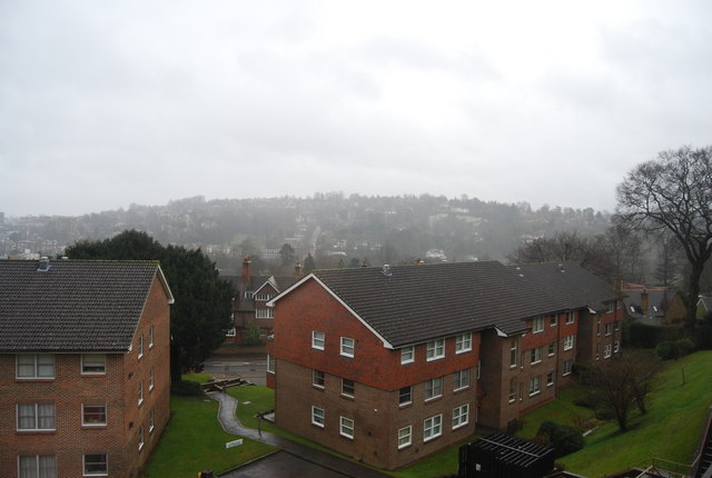 The view across Guildford, in the rain, from Rookwood Court (2)