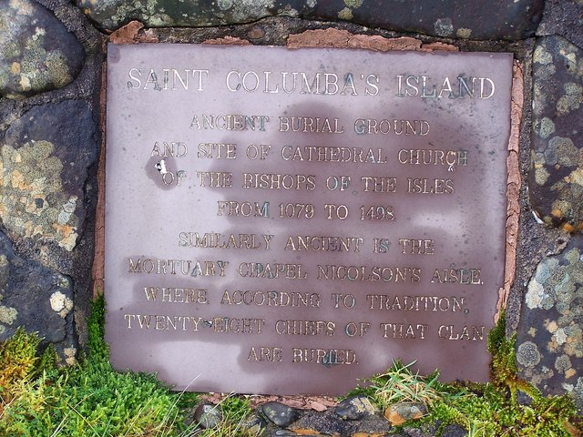 Plaque by the path to St Columba's Island