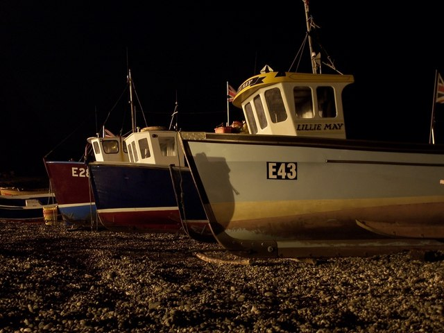 Fishing boats on Beer beach - by night