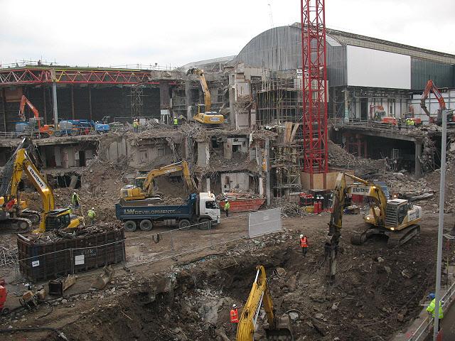 Demolition of foundations of PWC building, London Bridge