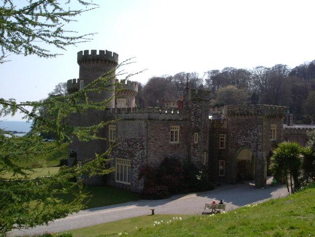 Rear view of Caerhays Castle