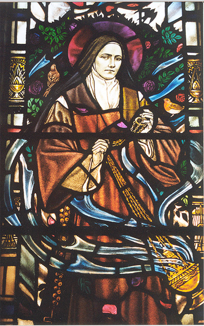 St Therese of Lisieux - stained glass window detail ...