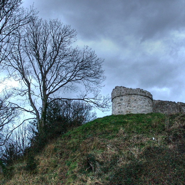 A picture of one of the turret of Castell Aberlleiniog, Anglesey, Wales