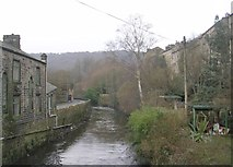 SD9827 : River Calder - Stubbing Holme Road by Betty Longbottom