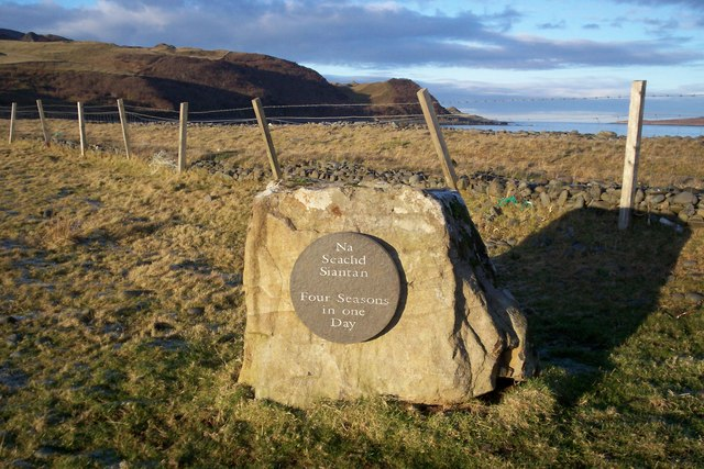 Plaque at Brogaig shore
