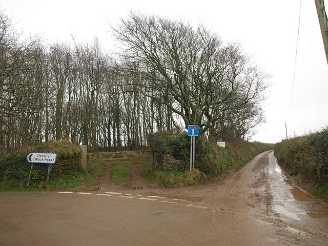 Lane junction near Lobb's Shop