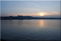 TQ7568 : Sunset over the River Medway from Chatham by N Chadwick