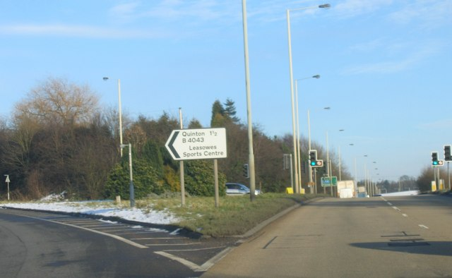 B4043 Manor Lane exit from A456 Manor Way.