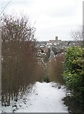 SU9849 : View of Guildford Cathedral from the path from The Mount by Basher Eyre