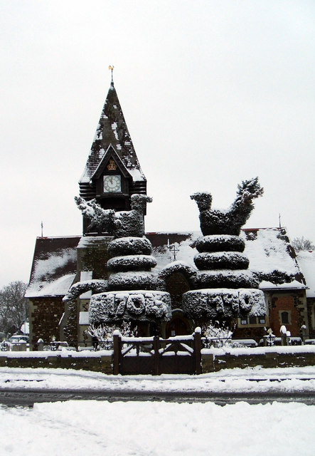 St Mary the Virgin, East Bedfont in Winter snow.