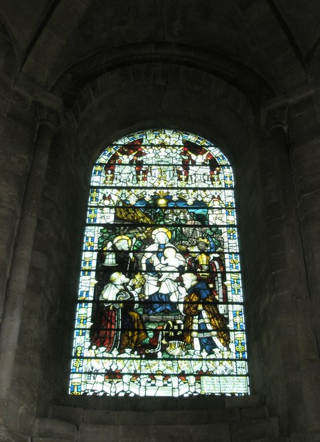 Stained glass window within St Ethelflaeda's Chapel at Romsey Abbey