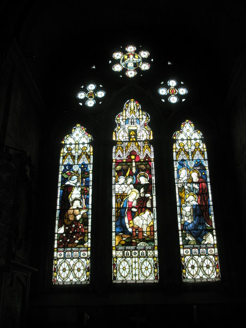 Stained glass window within the chapel dedicated to Mary at Romsey Abbey