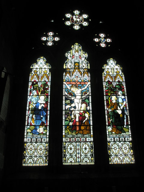Stained glass window in the chapel reserved for private prayer at Romsey Abbey