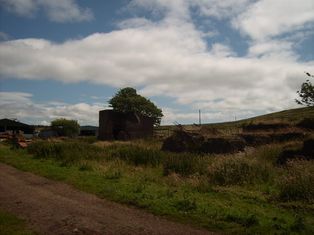 Ventilation Housing and winding gear foundations at Lethans colliery West lethans farm
