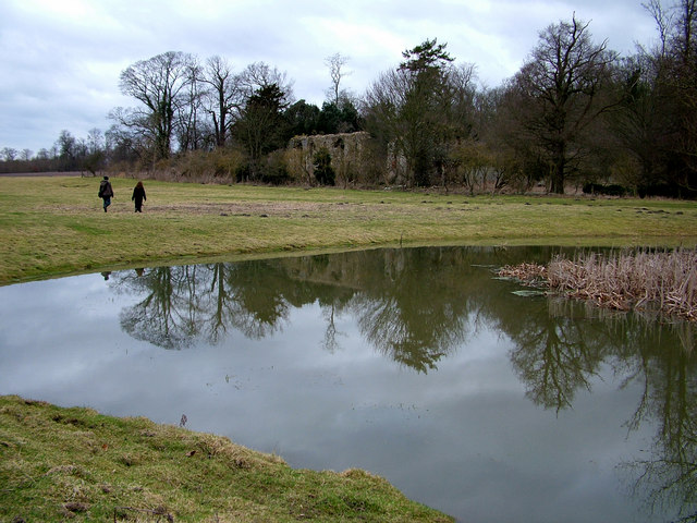 Remains of Sibton Abbey reflects in pond