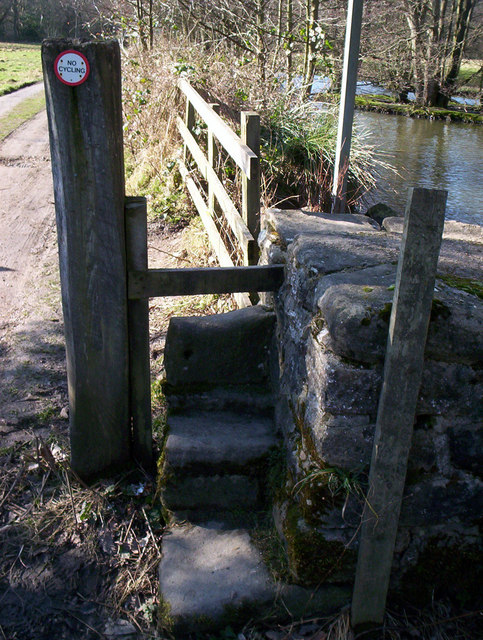 Stone step stile by Bedburn pond