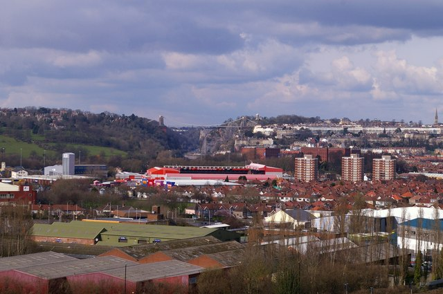 From the A38 across Ashton Gate to the Clifton Bridge