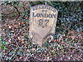 TM4072 : Milepost on A144 The Street, Bramfield by Geographer