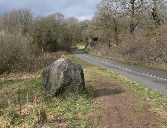 Granite boulder along Newton Linford Lane