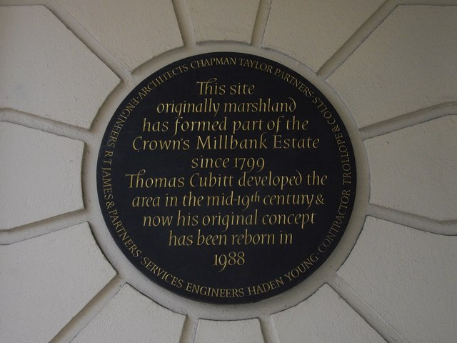Photo of Millbank Estate and Thomas Cubitt black plaque